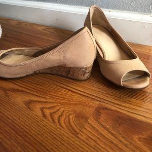 Cole Haan 7.5 nude peep toe cork wedge w/Nike Air